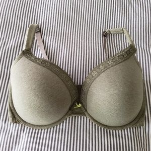 CACIQUE Green Cotton Boost Plunge Bra